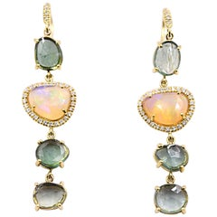 Lauren K. 9.10 Carat Green Tourmaline and Faceted Opal Dangle Earrings 18K Gold