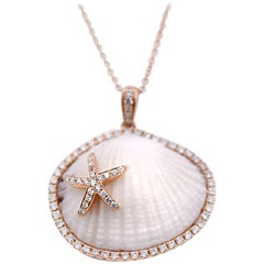 Natural Shell and 0.43 Carat Diamond Pendant Necklace in 18 Karat Rose Gold