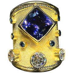Georgios Collections 18 Karat Yellow Gold Cushion Cut Tanzanite and Diamond Ring