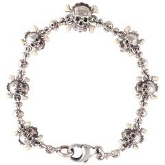 Bernardo Enamel and Silver Skull Bracelet