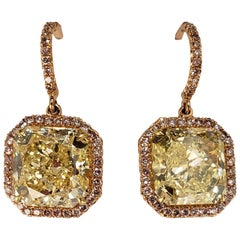 GIA Certified Fancy Yellow Radiant Cut Diamond Drop Earrings with Pink Diamonds