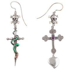 Bernardo Cross Heart Snake and Silver Skull Earrings