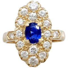 Vintage French Sapphire and Diamond Yellow Gold Cocktail Ring, circa 1990