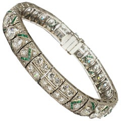 Art Deco Platinum and Diamond Bracelet with Emerald Accents