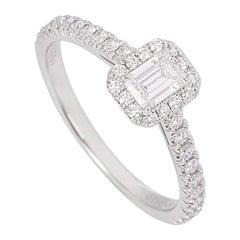 Tiffany & Co. Platinum Emerald Cut Diamond Halo Soleste Ring