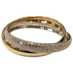 18 Karat Gold and Diamond Interlocked Bangle Bracelet 15.36 Carat