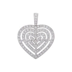 Theo Fennell White Gold Diamond Heart Pendant 1.04 Carat
