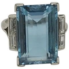 7.00 Carat Aquamarine and Diamond Platinum Cocktail Ring