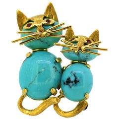 18 Karat Gold Brooch with Turquoise and Rubies, in the Form of a Cat, 1970s