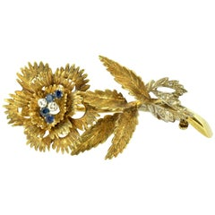 Vintage 18 Karat Gold Floral Style Brooch with Diamonds and Sapphires, Italy