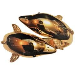 18 Carat Gold 1.00 Carat Diamonds Small Cabochon Sapphires Bracelet