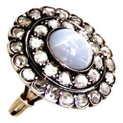 Antique 3 Carat Star Sapphire Diamond Gold Cluster Ring