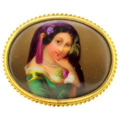 Victorian 15 Karat Gold Brooch with Oil Painting Portrait of Lady on Porcelain