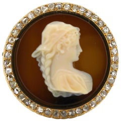 Antique French 18 Karat Gold Cameo Brooch with Agate and Diamonds, France