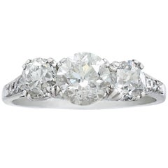 1910s 2.05 Carat Diamond and Platinum Trilogy Ring