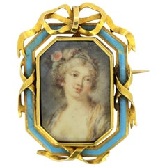Victorian 15 Karat Gold Brooch with Oil Hand-Painted Portrait on Mother-of-Pearl