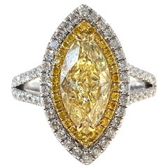 GIA 2.75 CT Yellow Marquise White Diamond 18 KT Gold Double Halo Engagement Ring