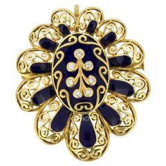 Vintage 18k Gold Brooch / Pendant with Diamonds and Blue Enamel, circa 1950s