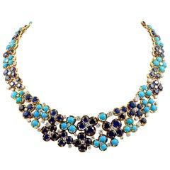 Van Cleef & Arpels Diamond Turquoise Sapphire Necklace