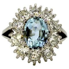 Vintage Platinum Ladies Ring with Aquamarine and Diamonds, circa 1980s