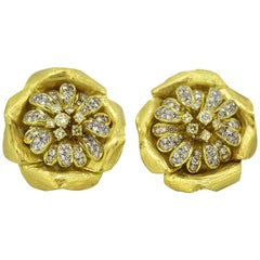 Boris Lebeau, 18k Gold Ladies Clip on Earrings with Diamonds, circa 1970s