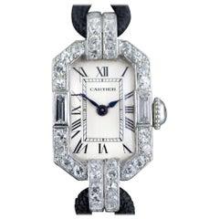 Cartier Platinum Diamond Art Deco Wristwatch, circa 1920