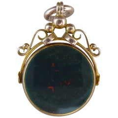 George V Rose Gold Fob, Cornelian and Bloodstone, 9 Karat, Birmingham, 1913