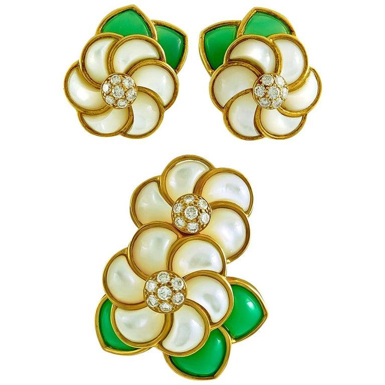 Van Cleef & Arpels Diamond, Chrysoprase Flower Brooch and Earrings