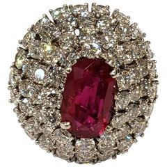 AGL Certified Ruby 3.17 Carat and Diamond Domed Cocktail Ring