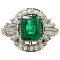 Platinum Ladies Ring with Emerald and Diamonds, circa 2000