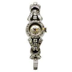 Rolex Custom Made 18 Karat Gold Manual Winding Embossed with Diamonds, 1950s