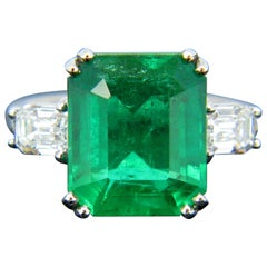 Certified 6.05 Carat Colombian Emerald Diamond Emerald Cut Platinum Ring