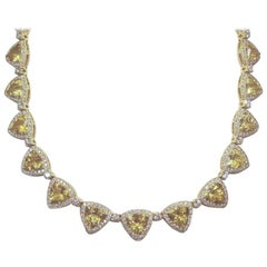 18 Karat Gold, Golden Beryl '77 Carat' and Diamond '16.85 Carat' Necklace
