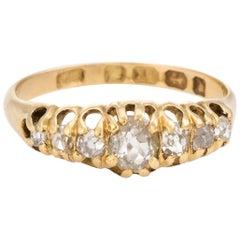 Graduated 7 Old Mine Cut Diamond Ring Antique Victorian circa 1878 18 Karat Gold