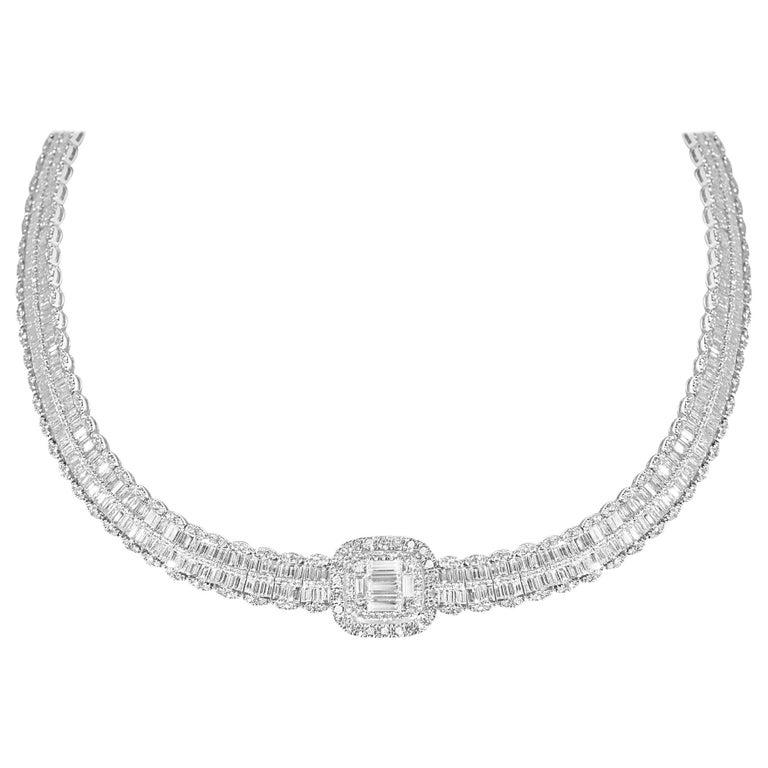 30.68 Carat Baguette Diamond Necklace
