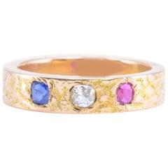 Solid 14 Karat Yellow Gold Sapphire, Ruby and Diamond Band 5.9g