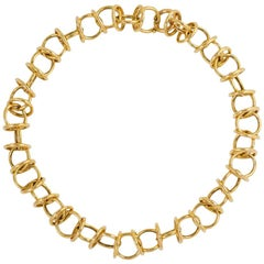 Estate Paloma Picasso for Tiffany & Co. Gold Opposing Circular Link Necklace