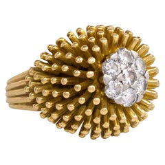 1960s Cartier Gold and Diamond Bombé Ring of Anemone Design