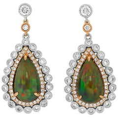 Black Opal Diamond White and Rose Gold Drop Earrings
