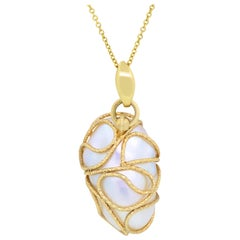 Two-Tone Gold Mother of Pearl Pendant