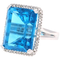 37.72 Carat Blue Topaz Diamond 14 Karat White Gold Cocktail Ring