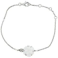Chanel Camelia White Agate and Diamond White Gold Bracelet