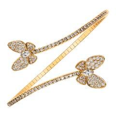 Diamond Encrusted Butterfly Flexible Bangle Bracelet