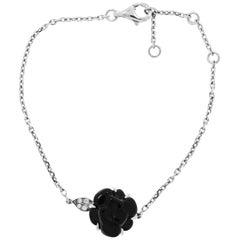 Chanel Camelia Black Ceramic and Diamond White Gold Bracelet