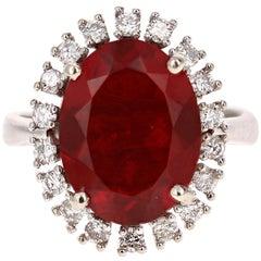 4.39 Carat Fire Opal Diamond 14 Karat White Gold Ring