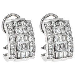 18 Karat White Gold and 4.15 Carat Diamond Earrings
