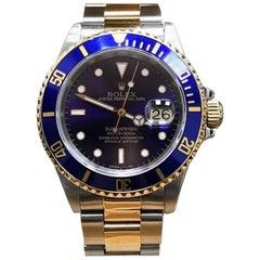 Rolex Submariner Blue 16613 18K Yellow Gold and Stainless Steel, Box and Papers