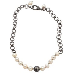 Diamond Eye South Sea Tahitian Pearl & Akoya Pearls with Sterling Silver Chain