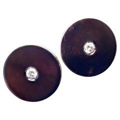 Bulgari Hematite Diamond Yellow Gold Earrings