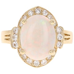 2.75 Carat Opal Diamond Yellow Gold Cocktail Ring